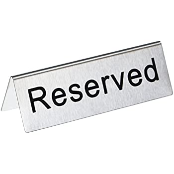New Star Foodservice 26887 RESERVED Table Tent Sign Stainless Steel 4 x 1.5-  sc 1 st  Amazon.com & Amazon.com: Reserved Table Signs 4.75x1.75 - 6 Pack: Industrial ...