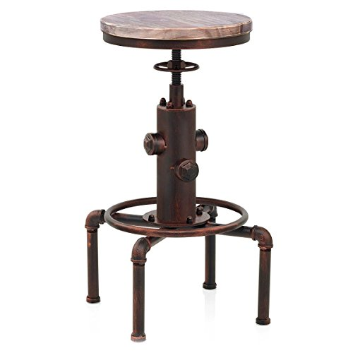 Topower American Antique vintage Industrial Solid Wood Water Pipe Design Cafe Coffe Industrial Bar Stool (Red Bronze) ()