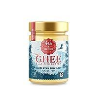 Mantequilla Ghee de Himalayan Pink Salt Fed-Grass de 4th & Heart, 9 onzas, pasto elevado, sin OGM, sin lactosa, Paleo certificado, Keto-Friendly