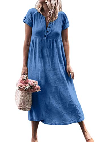- Dokotoo Womens Solid Button Fly Daily Short Sleeve Summer Ladies V Neck Fashion 2019 Casual Loose Midi Long Maxi Shift Dresses Blue Small