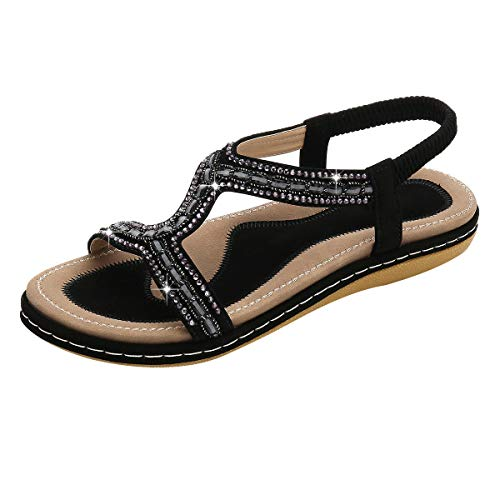 - chengzhijianzhu Women's Sandals Bling Crystal Peep Toe Flats Slip-On Flip-Flops Slides Basic Slingback Beach Slippers Shoes