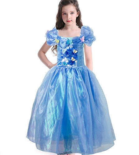 [Gotu Palace Princess Costume Cinderella Dress Party Lace Butterfly Dress (3-4 years old, Blue)] (Elsa Costume Age 11-12)