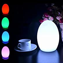 LED Mood Ball Light,WONFAST Rechargeable LED Bedside Table Lamp,Night Light with 16 Color Change and 4 Flash Modes,Suits for Outdoor Indoor Decoration (15x15x21-Egg)