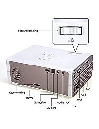 Crenova XPE496 Proyector Actualizado (+80  Lúmenes)   1080P Soporta HD Home Projector   Portable Mini Video Projector   Compatible con PC   Mac   TV    Fire Stick   Roku   iPhone   iPad   PS