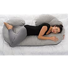 ComfySure Pregnancy Full Body Pillow - Maternity and Nursing Cushion with Removable Soft Jersey Knit Cover - Back, Neck Hip Support and Relief - Firm and Plush