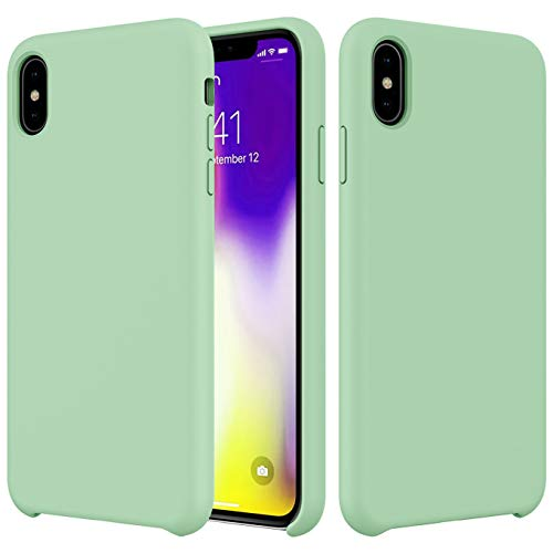 Compatible with iPhone Liquid Silicone Xs/X Case 5.8 inch,Slim Fit Gel Rubber Shockproof Anti-Fingerprint Smooth Touch Feeling Scratch-Resistance Case Soft Microfiber Cloth Lining Cushion-Mint Green