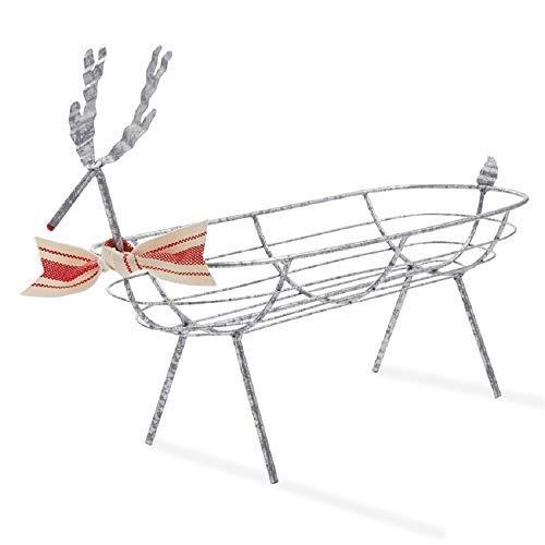 Mud Pie Reindeer Galvanized Tin Bread Basket
