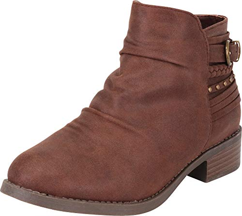 (Cambridge Select Women's Slouch Strappy Braid Studded Low Chunky Heel Ankle Bootie,8 B(M) US,Brown IMSU)