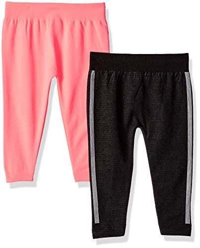 Limited Too Baby Girls 2 Pack Jacquard Side Stripe Fleece Lined Legging Set, Black/neon Coral Multi Color, 12-24M