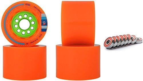 Orangatang Kegel 80mm 80a Orange Longboard Wheels WITH BEARINGS