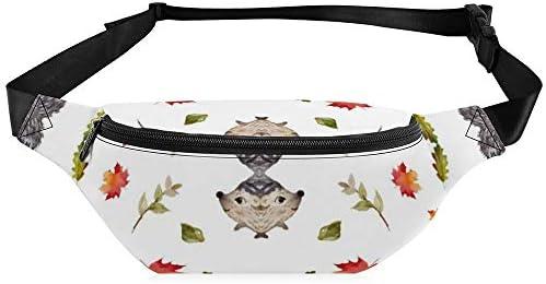 秋の緑豊かなハリネズミ ウエストバッグ ショルダーバッグチェストバッグ ヒップバッグ 多機能 防水 軽量 スポーツアウトドアクロスボディバッグユニセックスピクニック小旅行