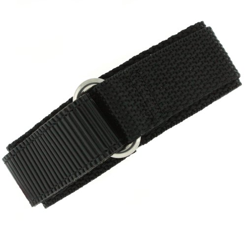 Watch Band Nylon One Piece Wrap Sport Strap Black Adjustable 22 millimeter