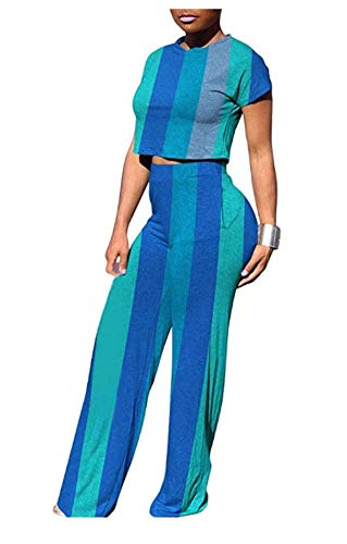 Women Striped O-Neck Short Sleeve Crop Tops Flare Bodycon Long Pants Jumpers 2 Piece Outfits ()