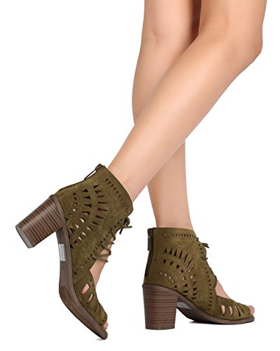 Breckelles Breckelles FH28 Faux Suede Peep Toe Perforated Lace Up Chunky Heel Bootie Olive FdA1wAR