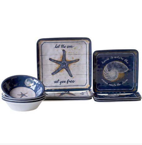 Certified International CALM12PC Calm Seas 12-piece Square Dinnerware Set, Sturdy Melamine, Coastal Design Perfect for Outdoor and Indoor Dining, Dishwasher Safe