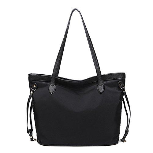 NIGEDU Elegant Leather Nylon Patchwork Women Tote Bag Casual Large Shoulder Bag (Black)
