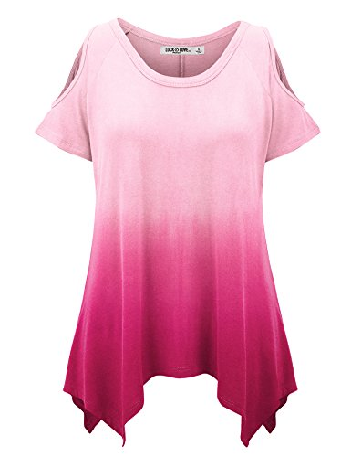 WT1093 Womens Ombre Round Neck Short Sleeve Cut Out Off Shoulder Top XL FUCHSIA ()