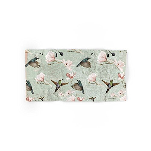 Society6 Vintage Watercolor Hummingbird And Magnolia Flowers On Mint Background Hand Towel 30''x15'' by Society6