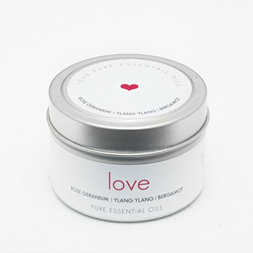 THE Pure Candle * Healthy Vegan Candle * Aromatherapy Soy Candle, LOVE Scented Candle with Ylang Ylang, Rose Geranium and Orange Pure Essential Oils Candle, Made in USA