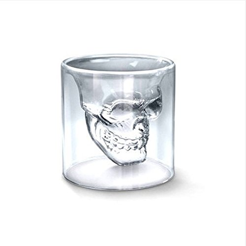 ILYPRO Skull Shot Glass 25ML For Vodka Bombs Cocktail Beer Coloured Drink Double-walled Crystal Clear Glasses Set of -