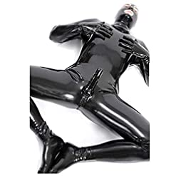 Sexy Men And Women Wet Look Ds Stage Catsuit Clothing Prisoner Patent Leather Jumpsuits Cosplay Zentai Catsuit Gloves Mask Bodysuit