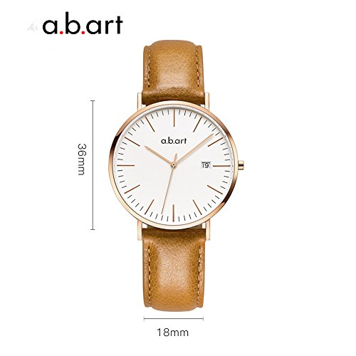 a.b.art FB36-000-3L Analog Leather Strap Rose Gold Case LadyWatch (watches Brown) by a.b.art (Image #2)