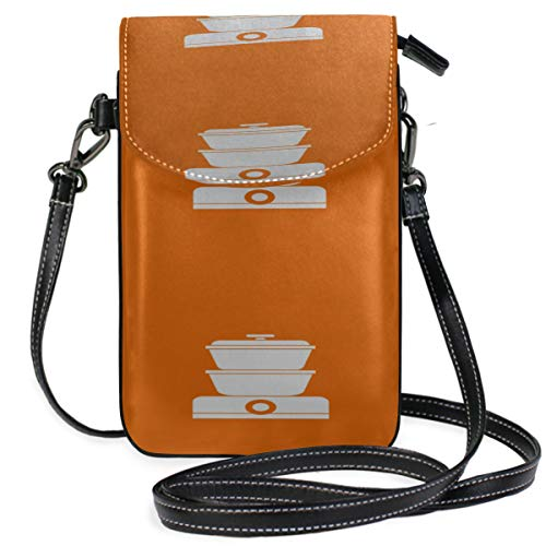 Leather Phone Purse Case Creative Kitchenware Home Food Steamer Print Crossbody Phone Bags Purse For Cell Phone Purse Wallet Travel Passport Bag Handbags For Women
