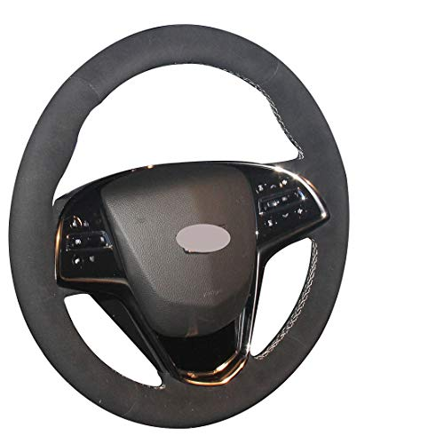 Hand Sewing Suede Black Genuine Leather Steering Wheel Cover for 2013 2014 2015 2016 Cadillac ATS/2014 2015 2016 Cadillac CTS/2014 2016 Cadillac ELR Base (Black Suede Light Grey Thread)
