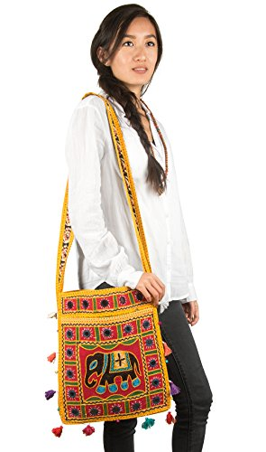 Colorful Hobo Hippie Purse Elephant Casual Roomy Everyday Messenger Mustard Sling Satchel Bag Shoulder Crossbody r8qPUr