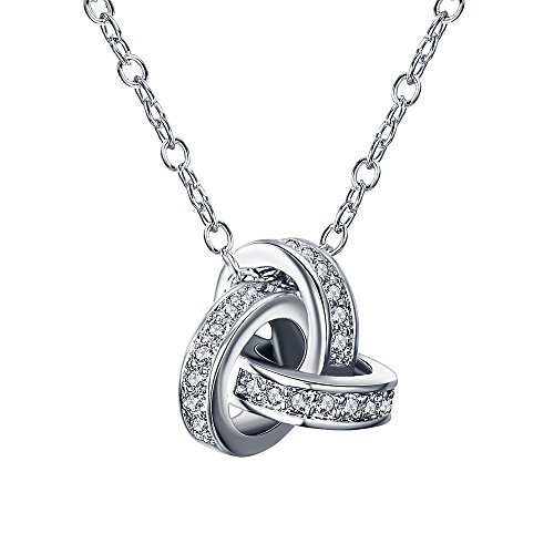 Triple Circle Necklace (LicLiz Interlocking Triple Cubic Zirconia Circle Eternity Love Knot Best Friend Friendship CZ Pendant Necklace)