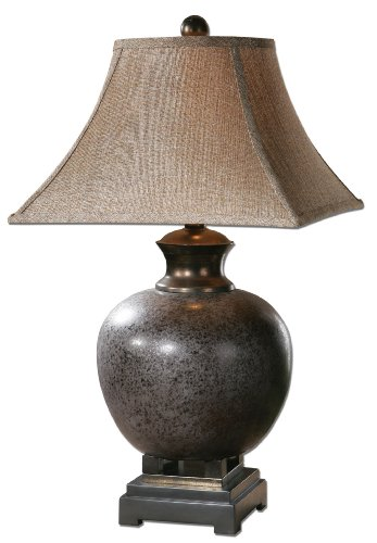 (Uttermost Villaga Distressed Table Lamp with Mottled, Rust Brown Glaze With Black)