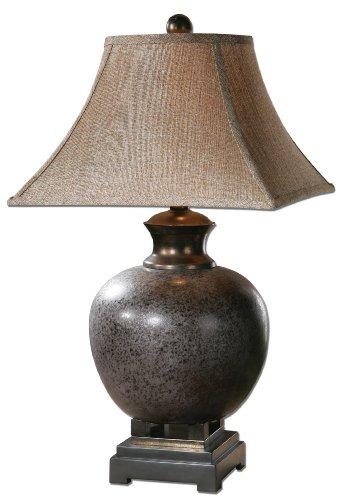 (Mottled Rust Brown & Black Ceramic Table Lamp Transitional)