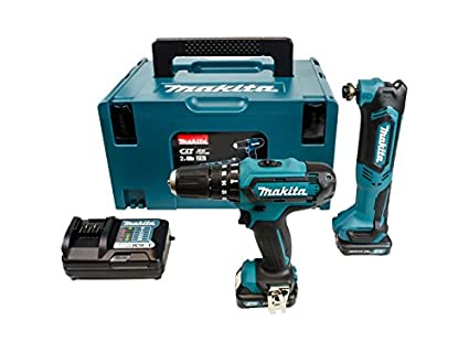 Makita CLX203AJX1 10 8 V Li-ion CXT 2 Piece Kit Comprising Combi Drill,  Multi Tool, 2 x 2 0 Ah Batteries and Charger with Accessories in a Makpac  Case