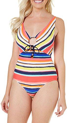 Piece Femme 1 One Multi Sexy Stripe Anne Maillot De Swimsuit Multicolore Cole Pièce Bain Neck V Tq5w8U