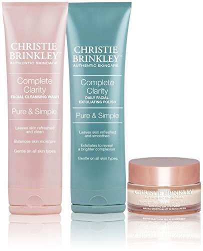 Christie Brinkley | Authentic Skin Care 3-Piece Kit - Anti-Aging Day Cream, Facial Cleansing Wash & Exfoliating Polish, 1 Set
