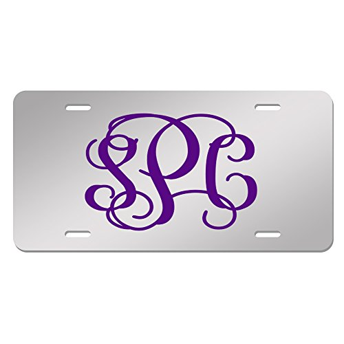 (JASS GRAPHIX Purple Vine Font Personalized Mirror License Plate Custom Made Acrylic Car Tag with Monogrammed)