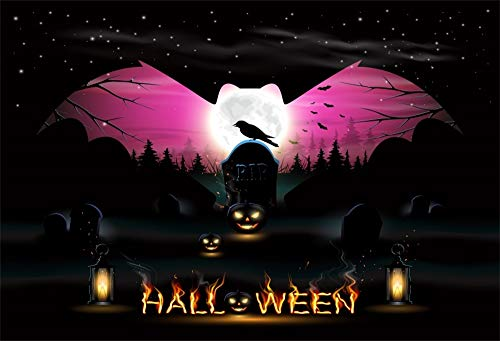 AOFOTO 8x6ft Halloween Photo Backdrop Big Bat Full Moon Graveyard Tombstone Night Lighting Lamps and Pumpkin Grimace Lanterns Background Children Adult Party Decoration Shoot Studio Props Vinyl]()