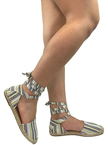 Womens Ankle Wrap Espadrille Flat D'Orsay Sandal, Multi Stripe, 5.5 Stripe Espadrille