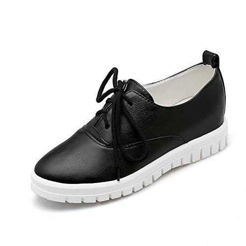 Balamasa Girls Vendaje, Punta Redonda, Zapatos De Cuero Imitados, Zapatos Negros