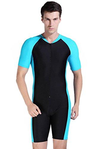 Couple Design One Piece Short-sleeve Swimsuit Sun Protection by Cokar