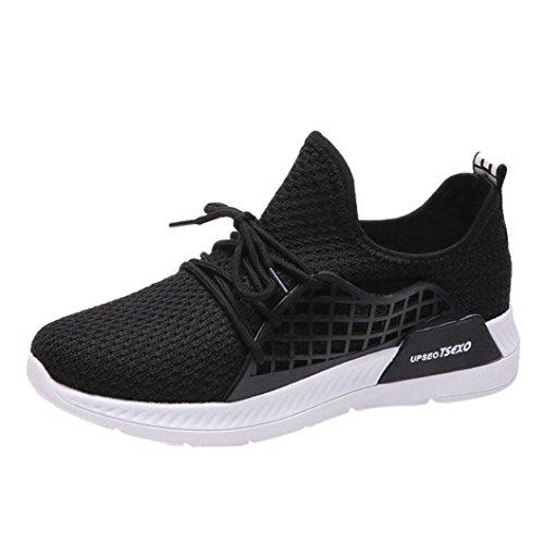 Round Cross Running Fashion Toe Beathable Lace Mesh Lady Shoes Women Gym Sport HLHN Black up Casual wzHnxC7X