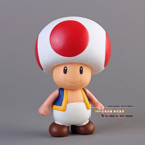 Super Mario Bros Mushroom Toad PVC Action Figure Model Toy (Mario And Luigi Hats For Sale)