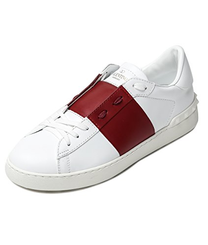 Wiberlux Valentino Men's Rockstud Detailed Two-Tone Lace-Up Real Leather Sneakers 39.5 White_Red