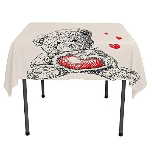 Doodle Checked Tablecloth Detailed Teddy Bear Drawing with Heart Instead of a Belly Mini Floating Hearts Red Black White Everyday Table Cloth Spring/Summer/Party/Picnic 60 by -