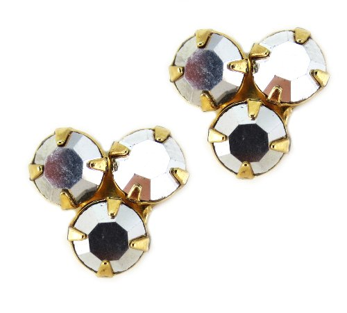 Mariana Gold Plated Triangle Post Earrings with Jet Hematite Swarovski Crystal