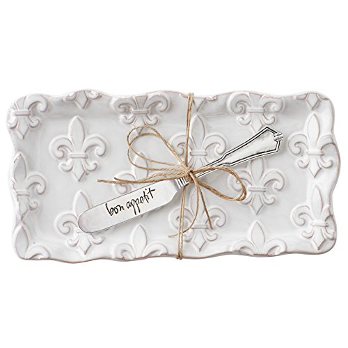 (Mud Pie 4874008 Fleur de Lis Butter Dish Set, White)