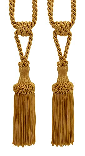 "Pair of Premium Gold Decorative Chainette Tiebacks, 5"" Tassel Length, 30"" Spread (Embrace), Color: Gold - C4"