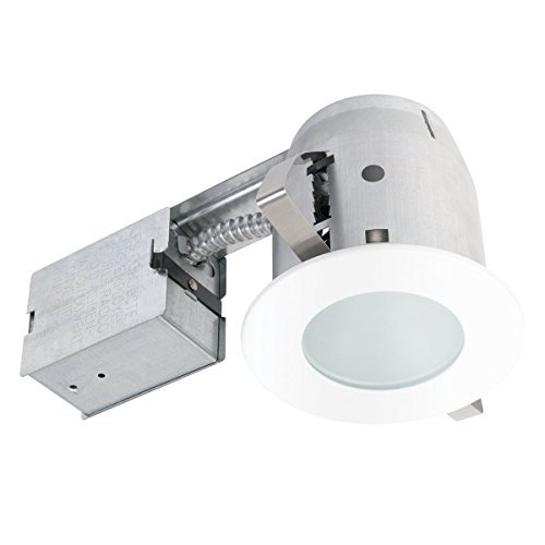 [4 Bathroom Shower Dimmable Downlight Recessed Lighting Kit, Round Tempered Frosted Glass, Easy Install Push-N-Click Clips, Globe Electric 90663 by Globe Electric] (Glass Electric Shower)