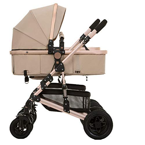 antk777 Double Strollers Baby Pram Tandem Buggy Newborn Pushchair Ultra Light Folding Child Shock Absorber Trolley Can Sit Half Lying 0-3 Years Old,60kg Maximum,Beige (Upgradedversionbeige)