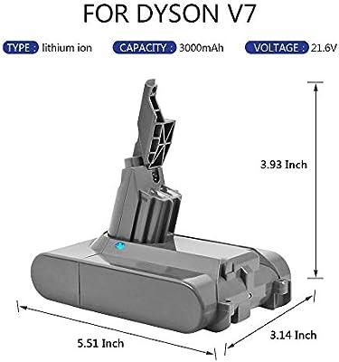 Sankett Batería para Dyson V7 Batería de Litio 21.6V 3000mAh ...